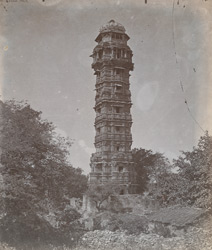 General view from the south-west of the Jaya Stambh or Tower of Victory, Chittaurgarh [Chitorgarh]